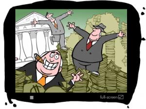 Rich men bathing in banknotes