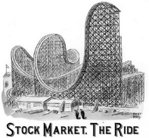 "A rollercoaster with a sign saying ""Stock market. The ride"""